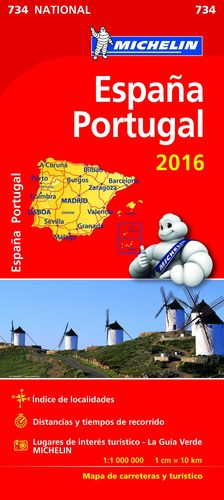 MAPA ESPAÑA PORTUGAL 2016 MICHELIN NATIONAL 734