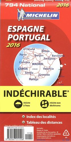 MAPA ESPAÑA PORTUGAL 2016 ALTA RESISTENCIA NATIONAL MICHELIN