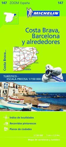 MAPA ZOOM BARCELONA Y ALREDEDORES, COSTA BRAVA 1:150000
