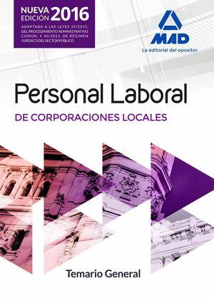 PERSONAL LABORAL CORPORACIONES LOCALES TEMARIO GENERAL 2016