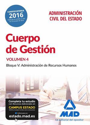 CUERPO DE GESTIÓN DE LA ADMINISTRACIÓN CIVIL DEL ESTADO. TEMARIO VOLUMEN 4