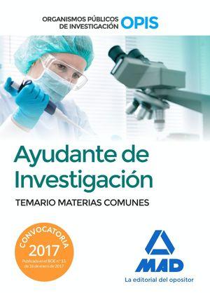 AYUDANTE DE INVESTIGACION TEMARIO MATERIAS COMUNES 2017