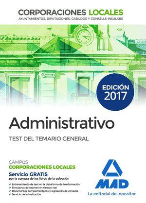 ADMINISTRATIVOS CORPORACIONES LOCALES TEST 2017 TEMARIO GENERAL
