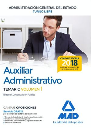 AUXILIAR ADMINISTRATIVO DEL ESTADO VOL.I 2018 TURNO LIBRE
