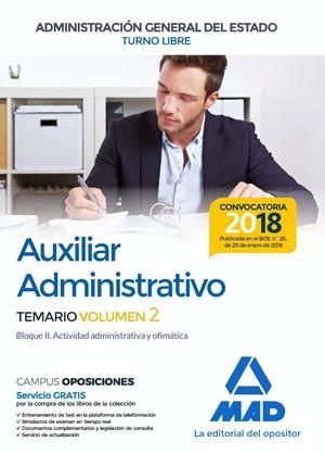 AUXILIAR ADMINISTRATIVO TEMARIO 2 2018 TURNO LIBRE