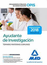 AYUDANTE DE INVESTIGACIÓN DE LOS ORGANISMOS PÚBLICOS DE INVESTIGACIÓN. TEMARIO D