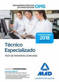 TÉCNICO ESPECIALIZADO DE LOS ORGANISMOS PÚBLICOS DE INVESTIGACIÓN. TEST DE MATER