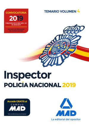 INSPECTOR DE POLICÍA NACIONAL TEMARIO VOLUMEN 4 2019