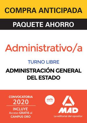 PAQUETE AHORRO ADMINISTRATIVO DE LA ADMINISTRACIÓN GENERAL DEL ESTADO (TURNO LIB