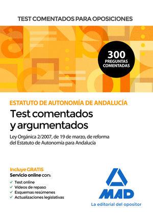 TEST COMENTADOS PARA OPOSICIONES DEL ESTATUTO DE AUTONOMÍA DE ANDALUCÍA (LEY ORG