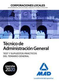TEST TEMARIO GENERAL TÉCNICO  DE ADMINISTRACIÓN GENERAL DE CORPORACIONES LOCALES. TEST DEL TEMARIO GE