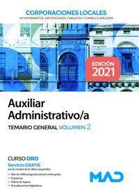 TEMARIO GENERAL VOL.2 AUXILIAR ADMINISTRATIVO CORPORACIONES LOCALES