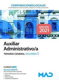 TEMARIO GENERAL VOL.3 AUXILIAR ADMINISTRATIVO CORPORACIONES LOCALES