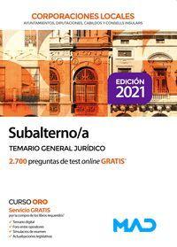SUBALTERNOS TEMARIO GENERAL JURIDICO CORPORACIONES LOCALES