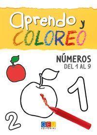 APRENDO Y COLOREO. NÚMEROS DEL 1 AL 9