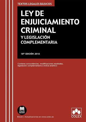 LEY DE ENJUICIAMIENTO CRIMINAL (2018) Y LEGISLACIÓN COMPLEMENTARIA