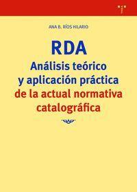 RDA. ANALISIS TEORICO Y APLICACION PRACTICA DE LA ACTUAL NORMATIV