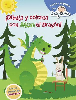 DIBUJA Y COLOREA CON MON EL DRAGON (CON PEGATINAS)