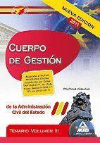 CUERPO DE GESTIÓN DE LA ADMINISTRACIÓN DEL ESTADO. TEMARIO VOL.III: POLÍTICAS PÚ