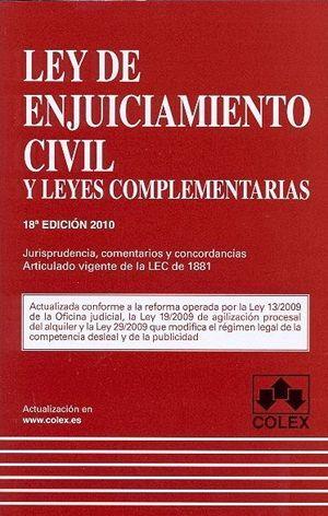 LEY DE ENJUICIAMIENTO CIVIL Y LEYES COMPLEMENTARIAS 19 ED.