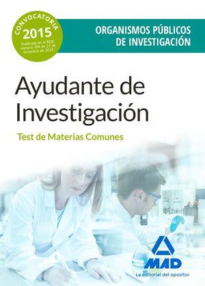 AYUDANTES DE INVESTIGACION TEST DE MATERIAS COMUNES 2016