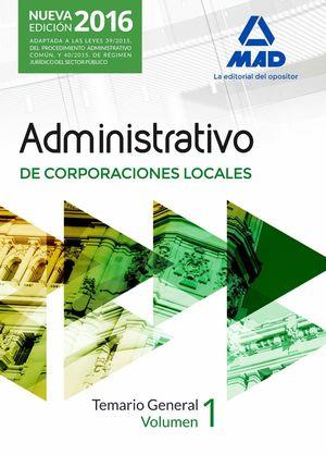 ADMINISTRATIVO DE CORPORACIONES LOCALES TEMARIO VOL. 1 2016