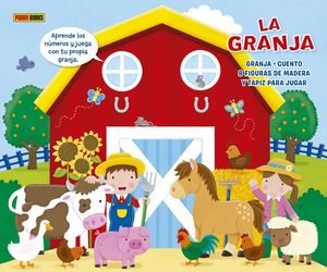 LA GRANJA (GRANJA + CUENTO + FIGURAS DE MADERA + TAPIZ)