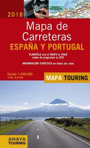 MAPA DE CARRETERAS DE ESPAÑA Y PORTUGAL 1:340.000, 2018