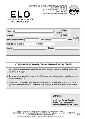 ELO EVALUACIÓN DEL LENGUAJE ORAL (JUEGO COMPLETO)